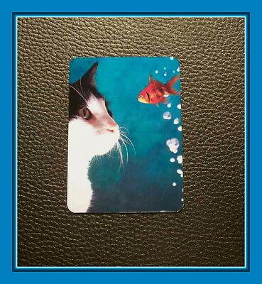 PRECIOUS TUXEDO CAT MAGNET WITH GOLDFISH