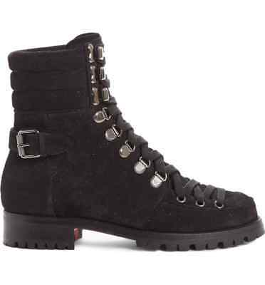 NIB Christian Louboutin Who Runs Flat Crosta Star Black Combat Ankle Boots 38