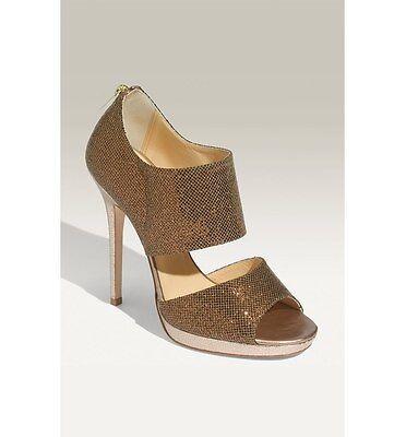 Jimmy Choo 'Private' Cuff Bronze Glitter Fabric Sandal  Sz 38.5 US 8