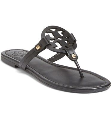 New Tory Burch Miller Flip Flop Black Leather US Womens Size 7M