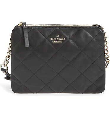 Kate Spade New York Emerson Place Harbor Leather Crossbody Shoulder Bag (Black)