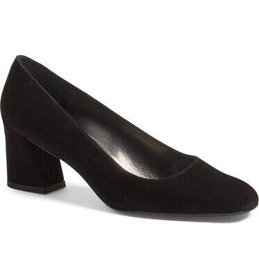 BNWB Stuart Weitzman Black suede Mid Heel Mary Shoe Pumps US9 UK6.5...