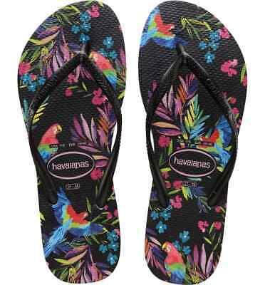 HAVAIANAS Slim Tropical Parrot Rubber Flip Flops Size 9/10 Women US New