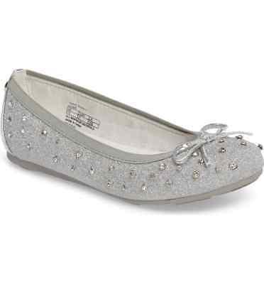 Stuart Weitzman Big Kids Girl Fannie Sparkle Slip On Ballet Flat Silver US 4 D-9