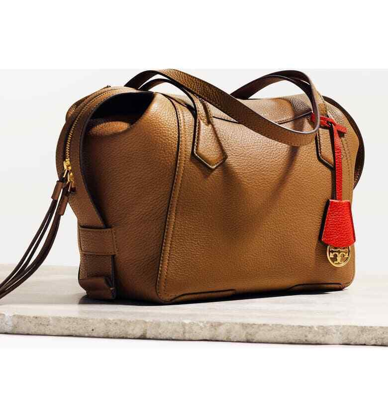 NWT IN PLASTIC Tory Burch Perry Leather Satchel Moose Brown/
