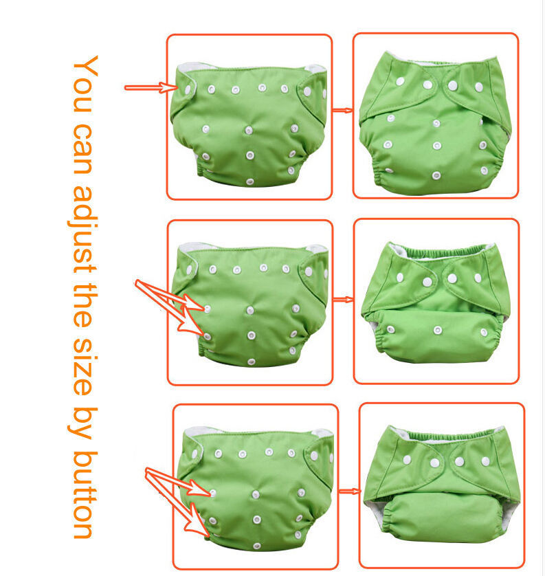 5pcs+ 5Inserts Adjustable Reusable Baby Washable Infant Nappy Soft Cloth Diapers
