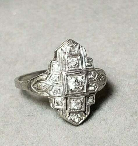 Antique Filigree Art Deco Design With Cubic Zirconia In 925 Silver Wedding Ring