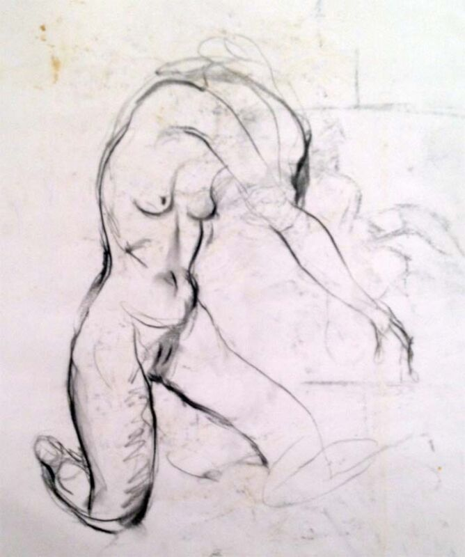 """Julian Ritter - """" Nude Lady -7 """" Charcoal on Vellum 19""""x 24"""" Un-Signed- 265"""