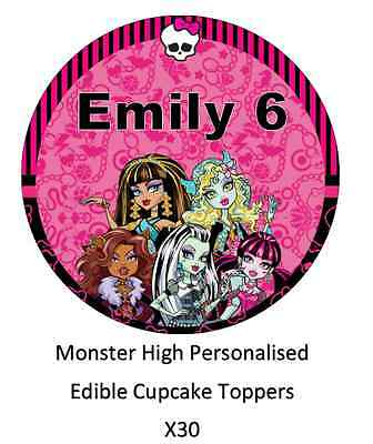 Monster High x30 Personalised Cupcake Toppers Edible Wafer Paper Name And Age ()