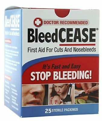 BleedCease First Aid for Cuts and Nosebleeds Sterile Packings 25 ea