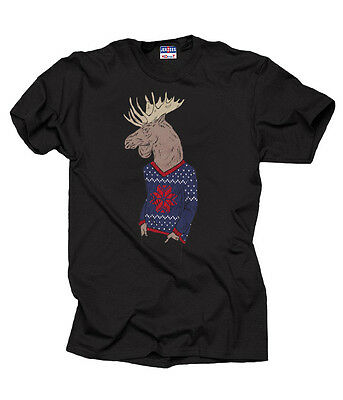 Ugly Christmas Sweater Hipster Moose Cool Xmas T-Shirt Christmas Gift - Cool Moose