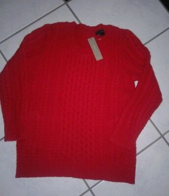 NWT J.Crew Red Cable Wool Fisherman Pocket Sweater XXS