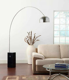 Large Curved Achille & Pier Castiglio Arco Type Floor Lamp Carrara Marble Base