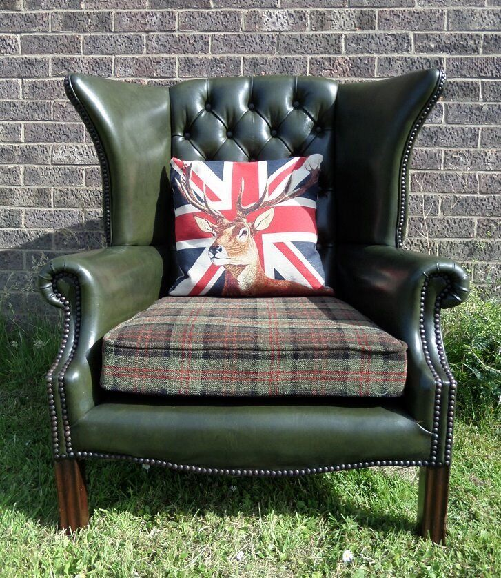 Stunning Chesterfield Queen Anne Wing Back Chair Green & Tartan - Two Available - UK Delivery