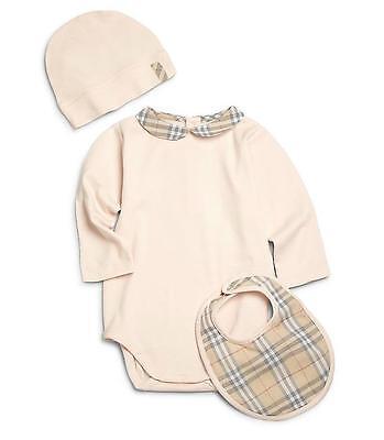 NWT NIB BURBERRY Carina infant Baby 3 piece Ice Pink Check Trim Gift Set sz 12M