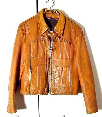 Vtg 60s Tan Brown Buckle Back Zip Moto 4 Pocket No Brand Leather Jacket Sz L