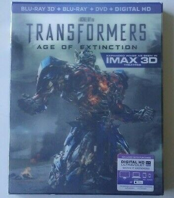Transformers Age of Extinction (2014) Blu-ray 3D/2D 4-Disc Set w/ Lent Slipcover