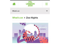 2 tickets to London Zoo night tonight 6-10pm email receipt