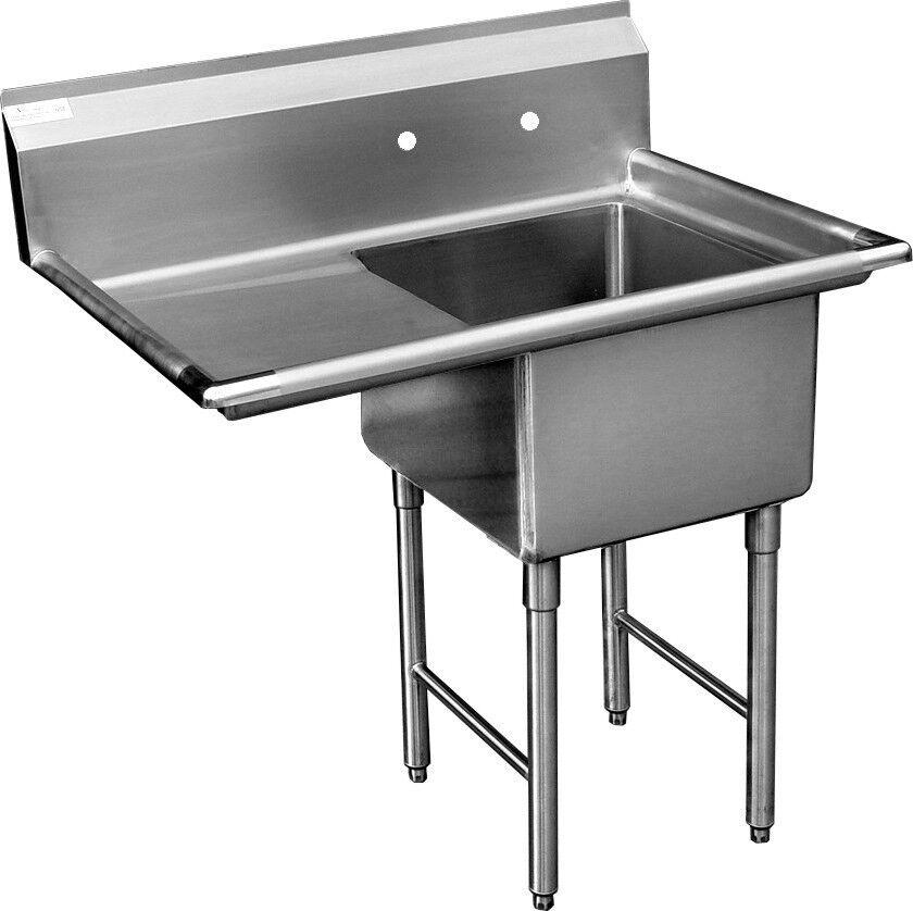 """ACE 1 Compartment S/S Utility Prep. Sink 18""""x24""""x14""""Left Drainboard ETL SH18241L"""