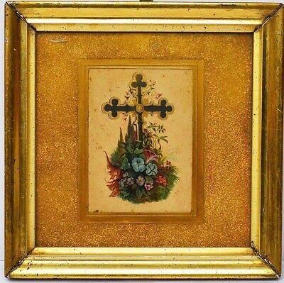 Lithographie um 1840-1860 Rahmen Berliner Leiste Kreuz mit Blumen
