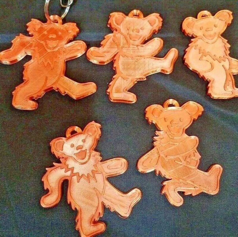 Grateful Dead Dancing Jerry Bear Christmas Ornament Handmade Silk Orange