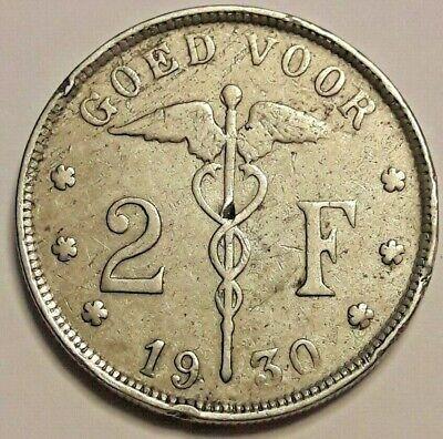 "==>> 2 Frank 1930 KM# 92, LA# BF-120 Belgïe "" 3 Over 2 "" Zeldzaam <<==="