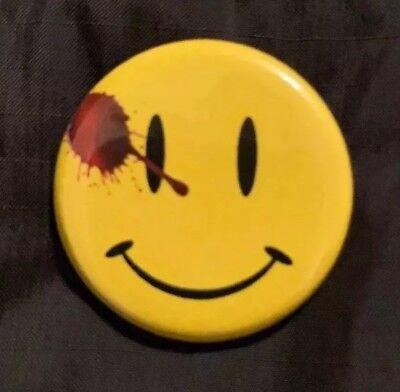 "WATCHMEN BUTTON SMILEY FACE PIN 1.25"" DC Doomsday Clock Flash Batman 22 - Flashing Smiley"