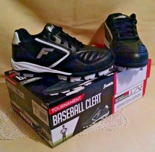 BASEBALL CLEATS NEW YOUTH SIZE 1 FRANKLIN TOURNAMENT CLEAT BLACK WHITE SHOES.
