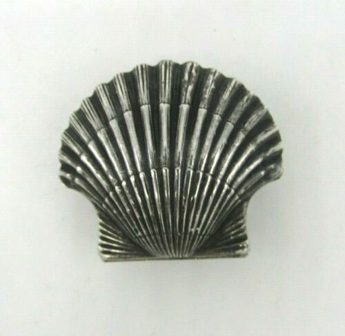 """Vintage 950 Sterling Silver Clam Shell Snuff Trinket Pill Box 1.5"""" L - 3/4"""" H"""