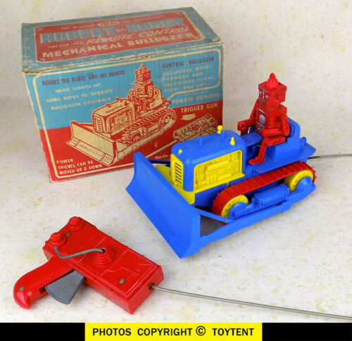 Ideal Robert the Robot bulldozer tractor with original box WORKING ... SEE MOVIE