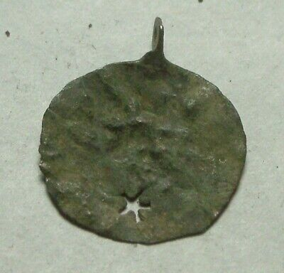 Rare Medieval bronze copper pendant Coin artifact open work star