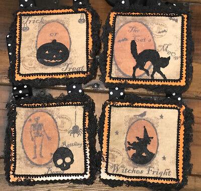 Bethany Lowe Halloween Rattling Bones Fringed Ornaments--Set Of 4–Retired