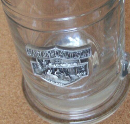 Harley-Davidson pewter motorcycle emblem glass tankard mug
