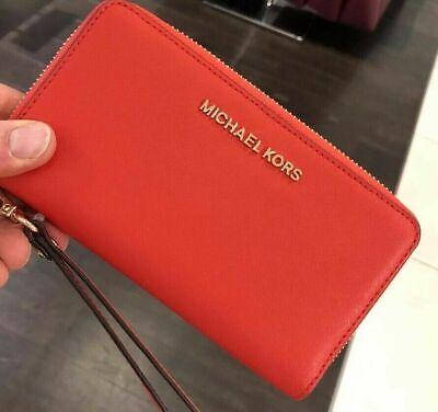 Michael Kors Women Leather Phone Case Card Holder Purse Clutch Handbag Wristlet