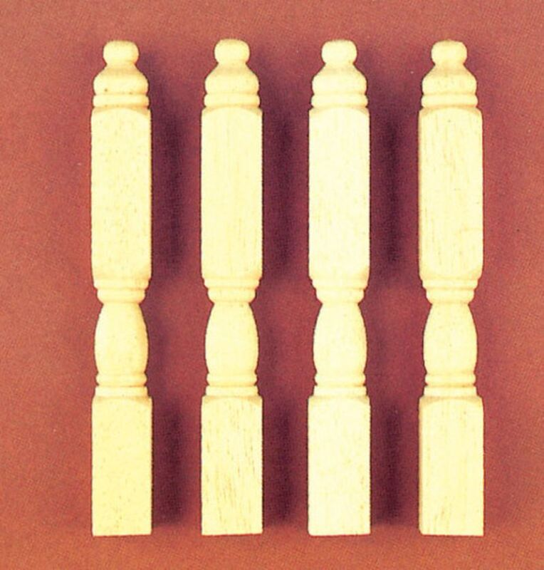 Dollhouse Miniature Unfinished Wood Newell Posts