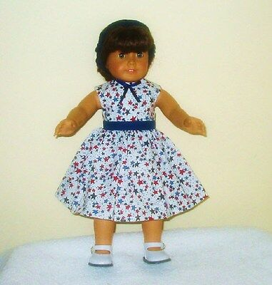 Doll Clothes - Patriotic Print Stars, Sleeveless Dress and headband on Rummage
