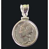 Coin Pendant 90% Silver VINTAGE MERCURY DIME Sterling Silver Bezel Soldered Bail