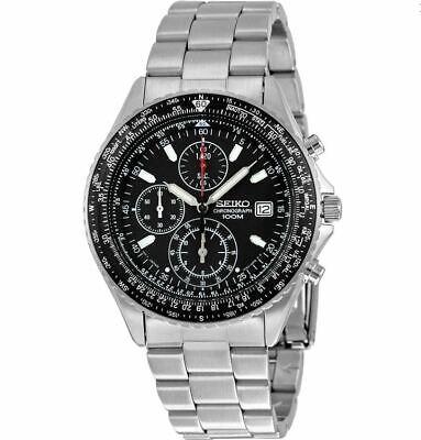 Seiko Men's SND253 Chronograph Pilot Black Dial Stainless Steel Watch