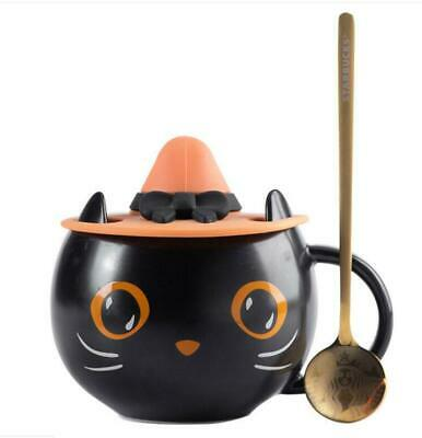 Starbucks 2021 Mysterious Cat Mug Black Coffee Cup with Lid Halloween With Spoon