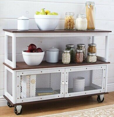 Industrial Style Rolling Kitchen Dining Buffet Cart Island Table_white