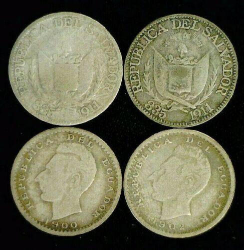 (2) 1911 EL SALVADOR SILVER 10 CENTAVOS & (2) ECUADOR DECIMO 1900 & 1902  (9267)