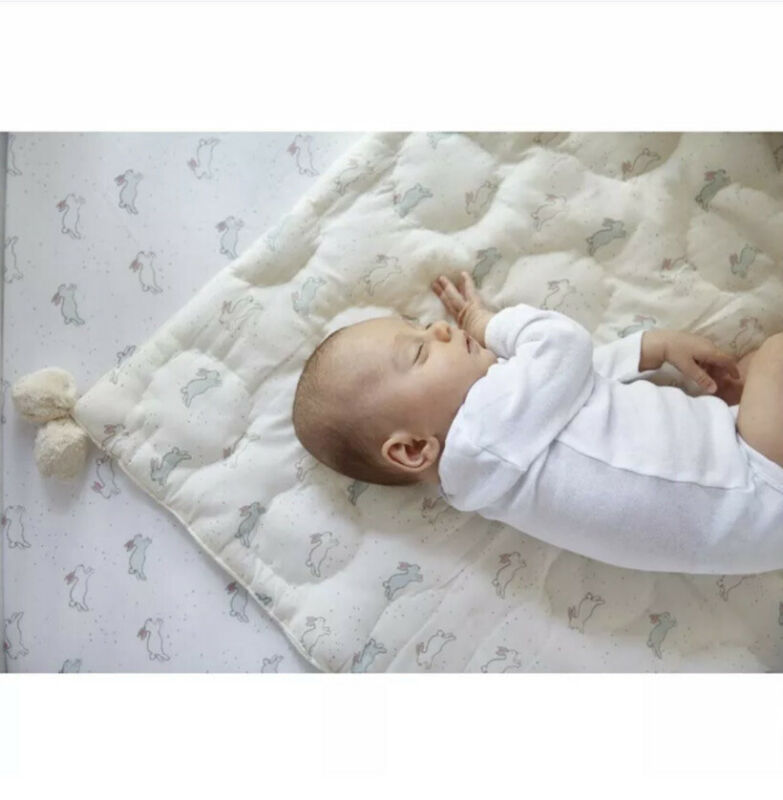Petit Pehr - Tiny Bunny Pom Pom Blanket - Quilted Cotton