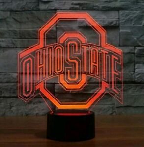 NEW! Ohio State Football 3D Lamp LED 7 Color Changing Night Light buckeyes