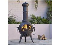 NEW Blooma Etinas Cast Iron Steel Chimnea Patio Heater Firepit Log Wood Burner BBQ Black 🔥 IN HAND