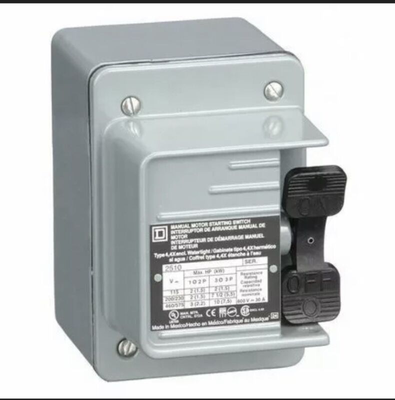 Square D By Schneider Electric 2510Kw2 Manual Motor Switch,Nema,30A,600Vac,3P