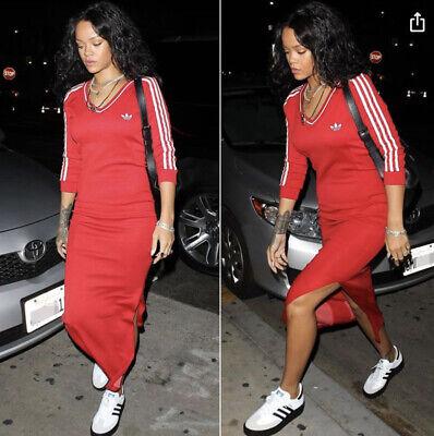 Adidas X Jeremy Scott Red Maxi Long Split Bodycon Tracksuit Dress Uk 6 4 XS
