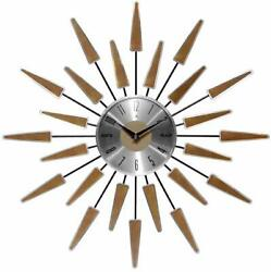 Vintage Starburst Clock Wall Mid Century Retro Sunburst Modern Home Decor Metal