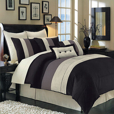 - Olympic Queen Size 8PC Hudson Comforter Set with matching skirt Shams & Cushions