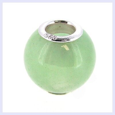 Sterling Silver Round Genuine Aventurine Stone Bead for European Charm Bracelet