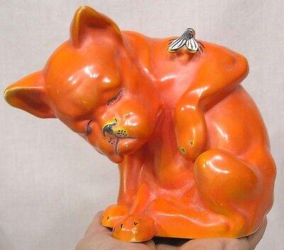 Vintage Czech Large Orange Bulldog w Fly on Shoulder Wonderful!!
